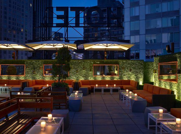 Nighttime scene at Empire Rooftop Hotel before an event