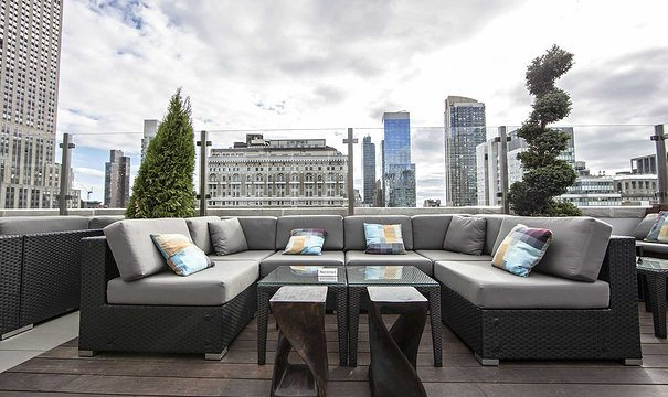 seating area at Monarch rooftop in nyc